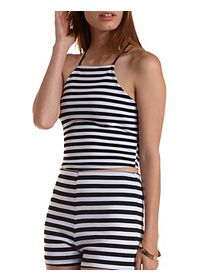 Striped Racer Front Crop Top