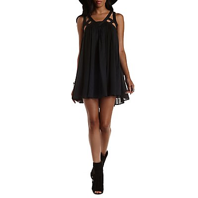 Caged & Embroidered Trapeze Dress