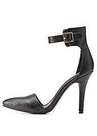Textured Pointed Toe D'Orsay Heels