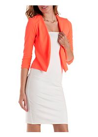 Ruched Sleeve Open Front Blazer
