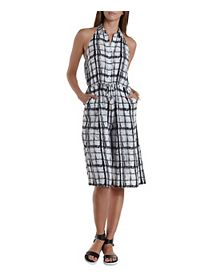 Abstract Plaid Collared Culotte Jumpsuit