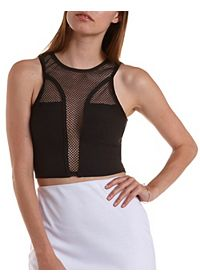 Netted Mesh Racer Front Crop Top