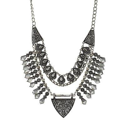 Tiered Metal Statement Bib Necklace