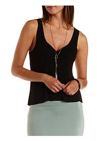 Ribbed Raw Hem Tank Top
