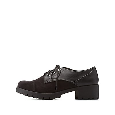 Texture Block Lug Sole Oxfords