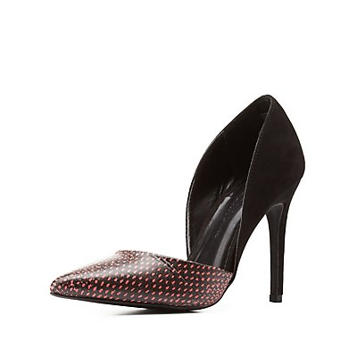 Snake Print D'Orsay Pointed Toe Pumps