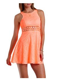 Daisy Crochet & Lace Skater Dress