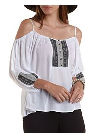 Button-Up Ribbon-Bib Cold Shoulder Top