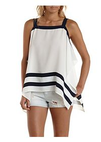 Statement-Striped Handkerchief Tank Top