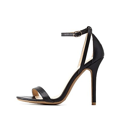 Python-Textured Single Strap Heels