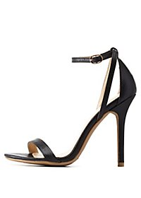 Python-Textured Single Strap Heels