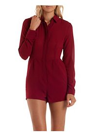 Long Sleeve Button-Up Chiffon Romper