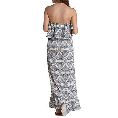 Lace Print Ruffle Strapless Maxi Dress