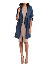 Dark Wash Chambray Trench Coat