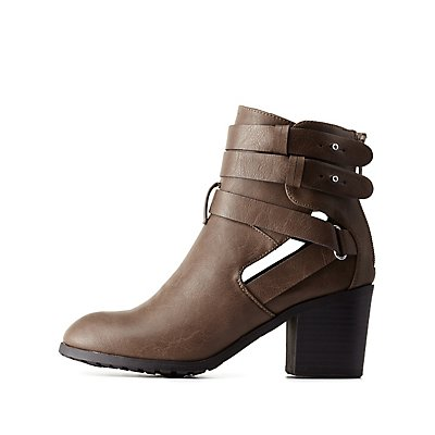 Double Buckle Cut-Out Bootie