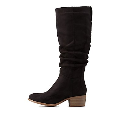 Ruched Contrast-Tab Riding Boots