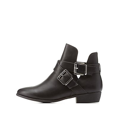 Bamboo Double-Belted Flat Booties
