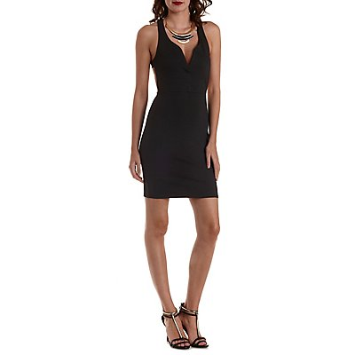 Caged-Back Plunging Bodycon Dress