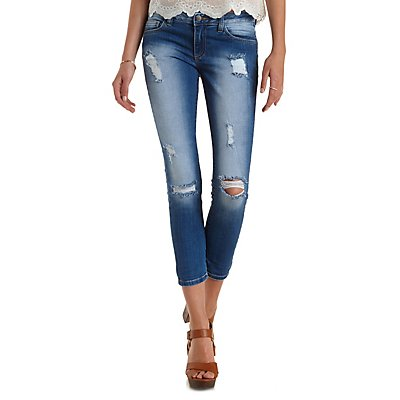 Destroyed & Cropped Skinny Jeans