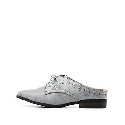 Qupid Pointed Toe Mule Oxfords