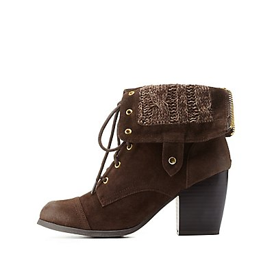 Sweater-Lined Chunky Heel Lace-Up Booties