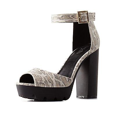 Snake-Textured Ankle Strap Lug Sole Heels