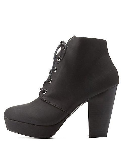 Bamboo Chunky Heel Lace-Up Booties | Charlotte Russe