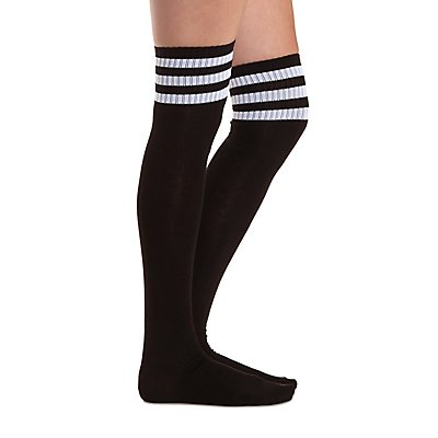 Sporty-Striped Over-the-Knee Socks