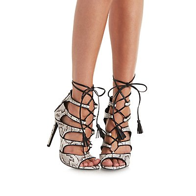 Lace-Up Python Print Gladiator Heels