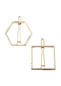 Geometric Metal Hair Clips - 2 Pack