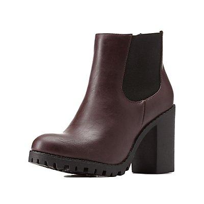 Lug Sole Chunky Heel Chelsea Boots