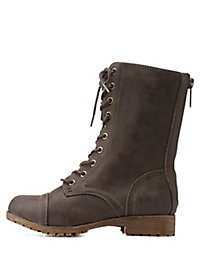Bamboo Faux Fur-Lined Combat Boots