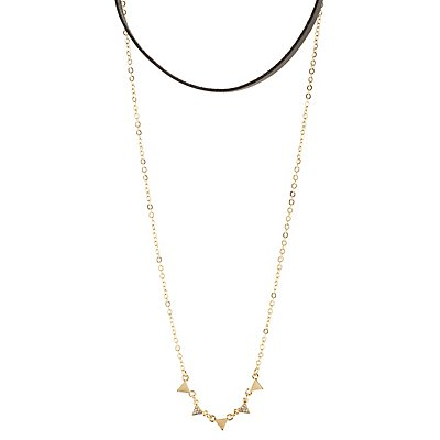 Faux Leather Choker & Triangle Necklaces - 2 Pack