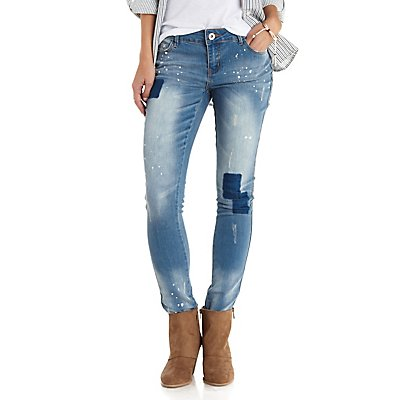 Paint-Splattered Patchwork Skinny Jeans