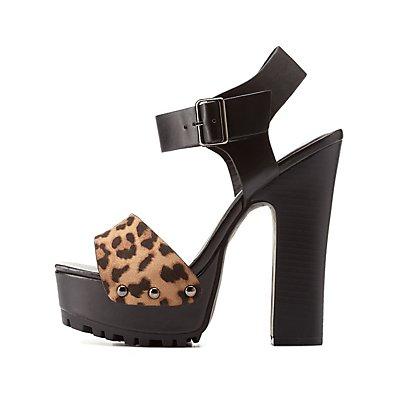 Leopard Print Platform Chunky Heel Sandals