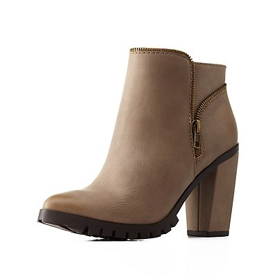 Zipper-Trim Lug Sole Booties