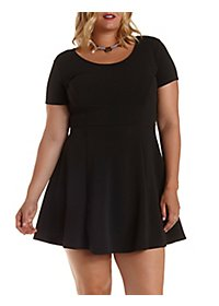 Plus Size Short Sleeve Skater Dress