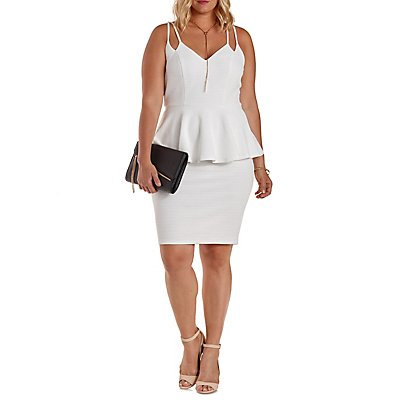 Plus Size Textured Strappy Peplum Dress