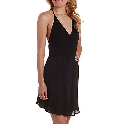 Strappy Backless Halter Dress