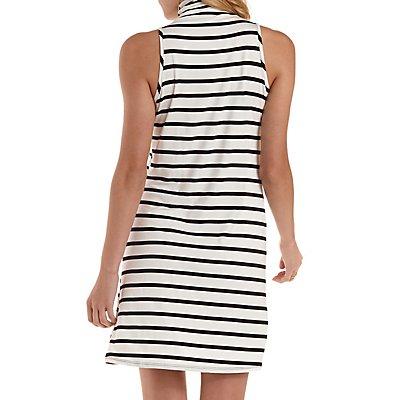 Mock Neck Striped Sleeveless Shift Dress