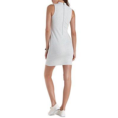 Sleeveless Ribbed Mock Neck Dress