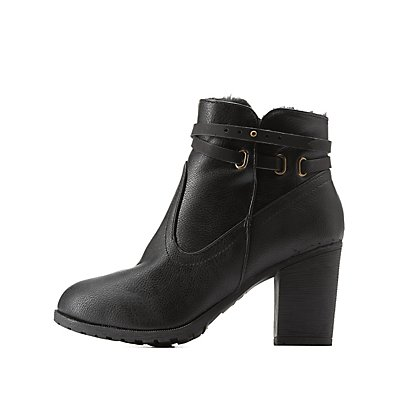 Bamboo Fur-Lined Belted Chunky Heel Booties
