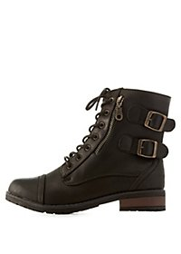 Bamboo Combat Booties with Buckles & Zippers