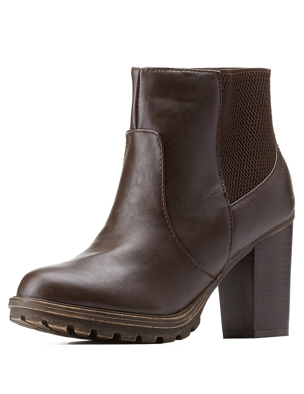 Bamboo Lug Sole Chunky Heel Chelsea Boots | Charlotte Russe