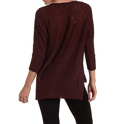High-Low Slub Knit V-Neck Sweater