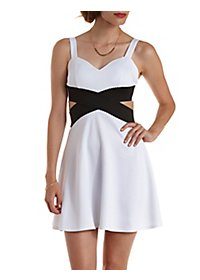 Bandage-Waist Cut-Out Skater Dress
