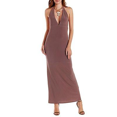 Plunging Halter Maxi Dress