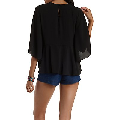 Cape Sleeve Lace-Yoke Top