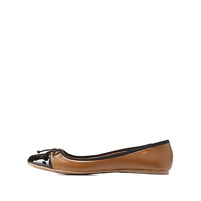 Qupid Bow-Topped Cap-Toe Ballet Flats