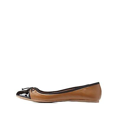 Qupid Bow-Topped Cap-Toe Ballet Flats